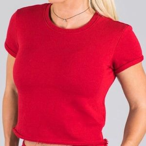 Alphalete Lounge Shirt. Red. XS